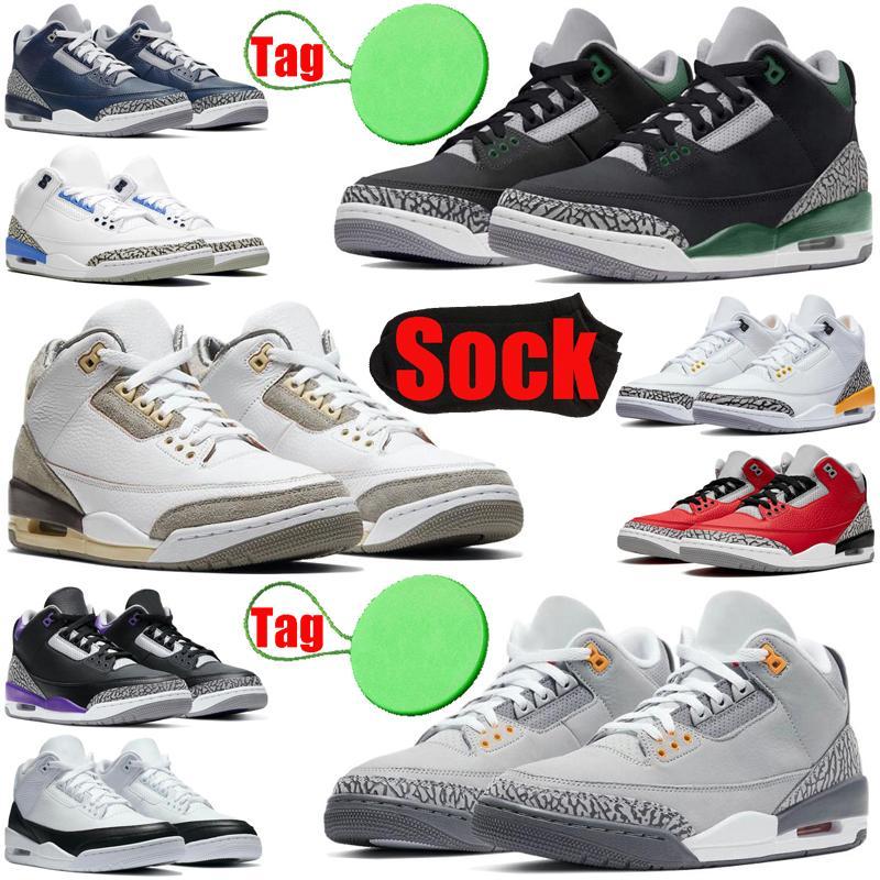 3 3s Fragment Jumpman Hommes Chaussures De Basket-ball Noir Blanc Laser Orange Feu Rouge UNC Hommes Baskets Baskets De Sport
