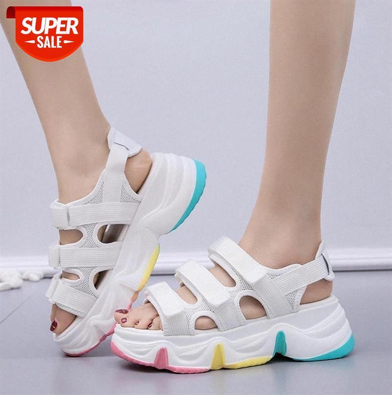Novas Mulheres Sandálias Mulheres Plataforma de Verão Sandálias Sapatos Respirável Conforto Caminhada Branco Sapatos Senhoras Sapato Sapato Navio # LQ6G