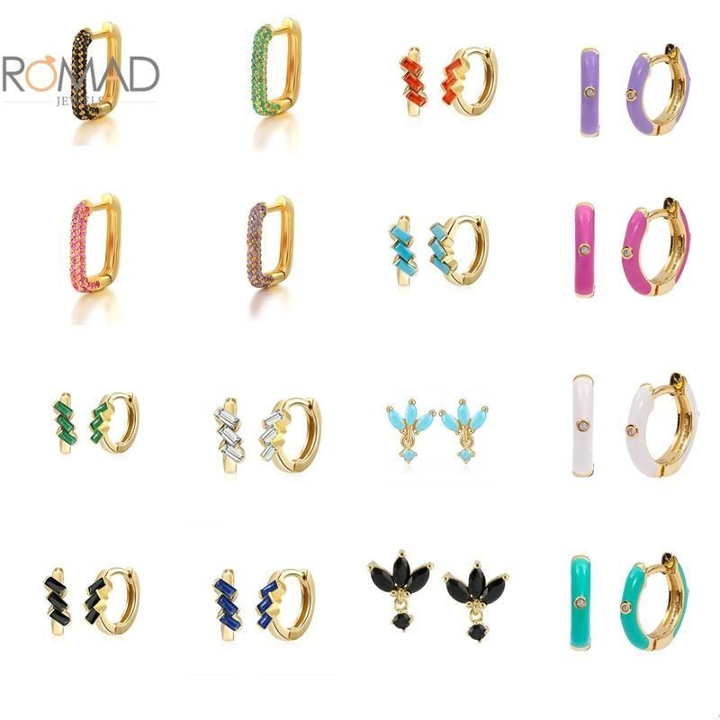 Hoop & Huggie ROMAD 925 Sterling Silver Colorful Zircon Square Earring For Women 2021 Small Round Enamel Earrings Piercing Jewelry
