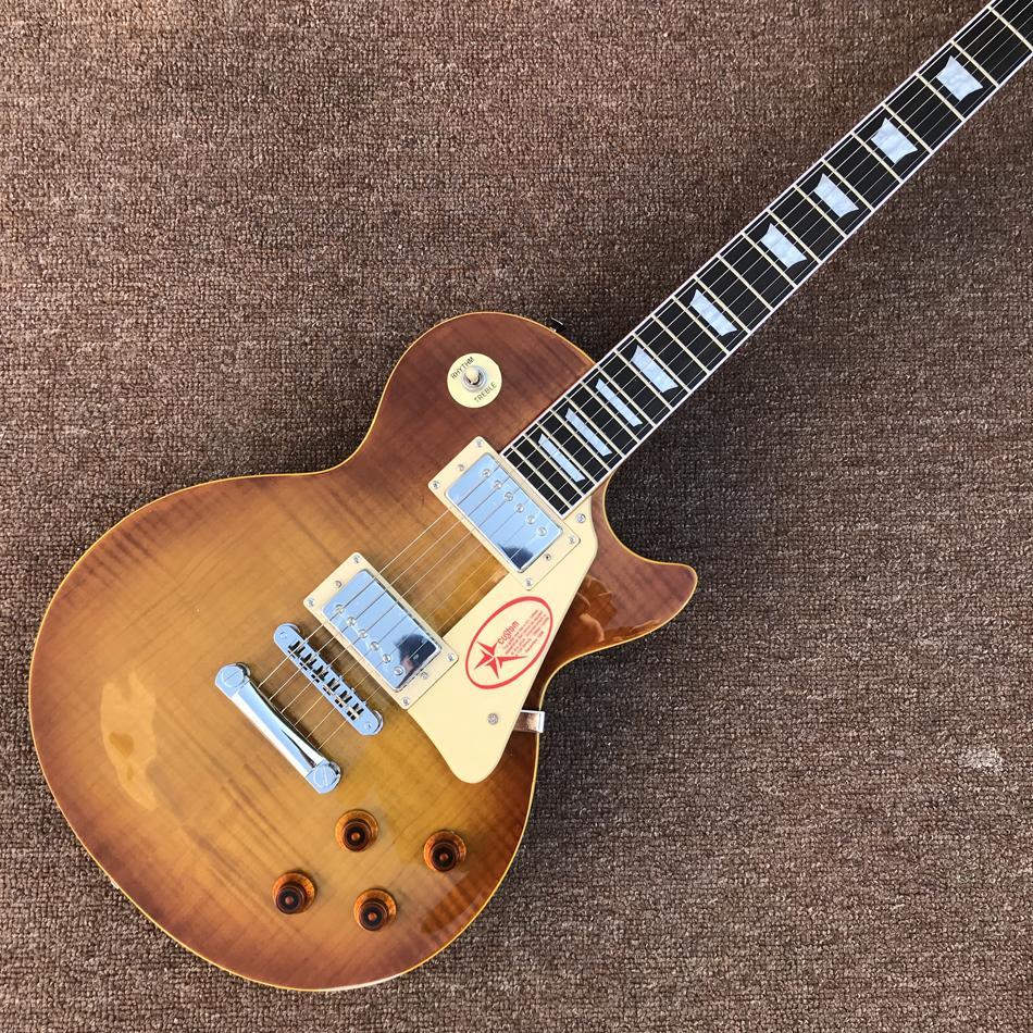 Guitare électrique, reliure de frettes jaunes, top de tabac à tabac, guitare électrique Tune-O-Matic Bridge