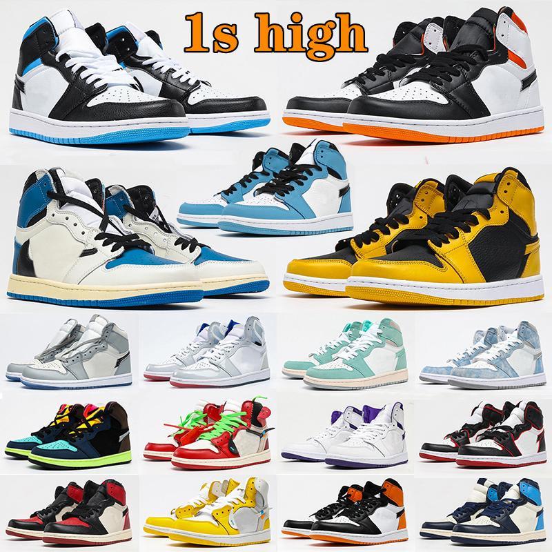 air jordan 1 aj1 jumpman 1s shoes mens University Blue 1s Basketball shoes High Dark Mocha Electro Orange Military UNC Light Smoke Grey Hyper patent bred royal man woman sneakers
