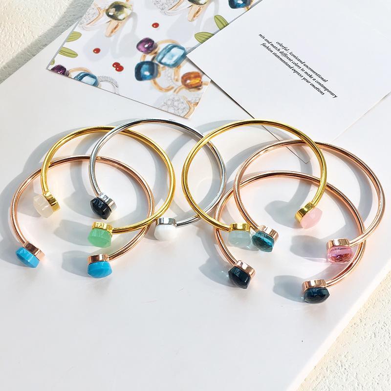 Bracelete banhado a ouro Mulheres presente de água gotas ágata abertura pulseiras para menina charme doces manguito pulseira jóias com saco de veludo