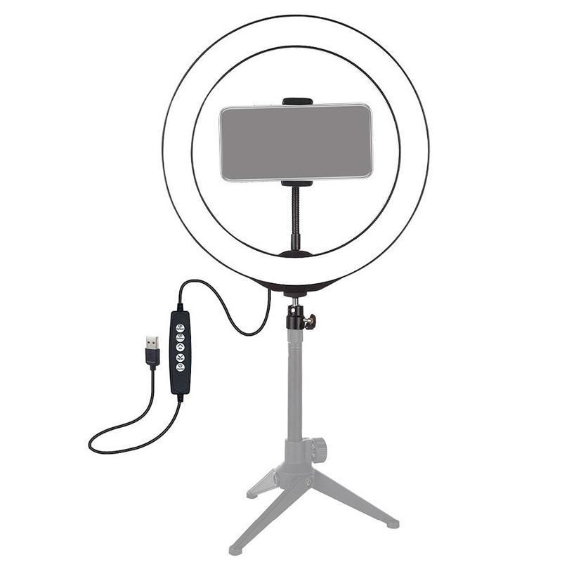 Bague LED Light RVB Coloré Dimmable USB pour Vidéo Live 13 pouces / 33cm avec clip de téléphone clignote