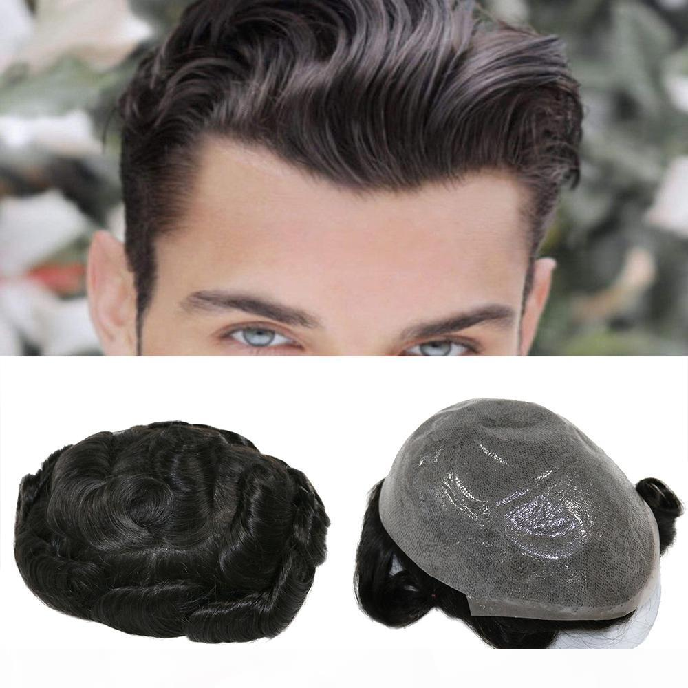 Full PU Men toupee Durable 0.06-0.08mm Skin Natural looking Remy Hair Men wig Human Hair Full PU Replacements Toupee