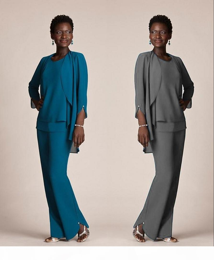 Grey Chiffon Formal Pant Suits For Mother Groom Dresses Evening Wear Long Mother Of The Bride Dresses With Jackets Plus Size Custom HY331