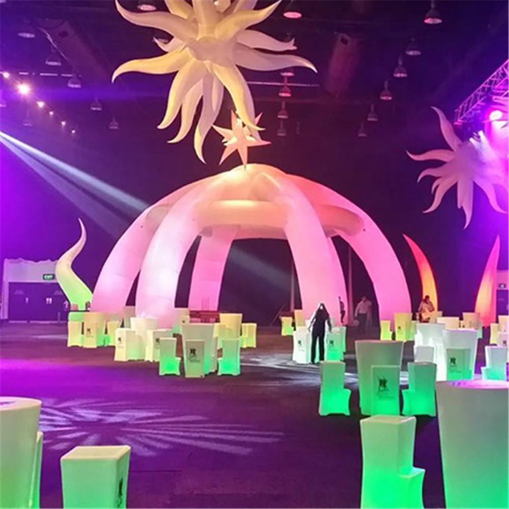 Estrutura de construção de Oxford personalizada Estrutura inflável Beams de ar da tenda do ar da cúpula do partido com luzes do diodo emissor de luz para o estágio ou o centro de eventos do DJ