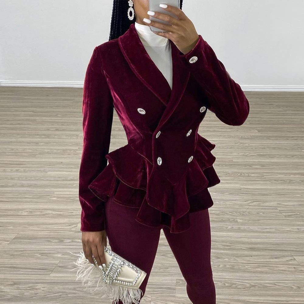 Fırfır Katı Renk Bayan Ceketler İlkbahar Sonbahar Ince Uzun Kollu Mont Kadınlar Sıcak Satmak Lüks Giyim