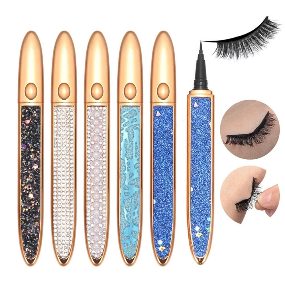 Waterproof Strong Self Adhesive Eyeliner Glue for False Eyelashes 2 In 1 Magic Diamond Bling Glitter Liquid Eye Liner Pen No Need Glue to Wear Lash Droppshing