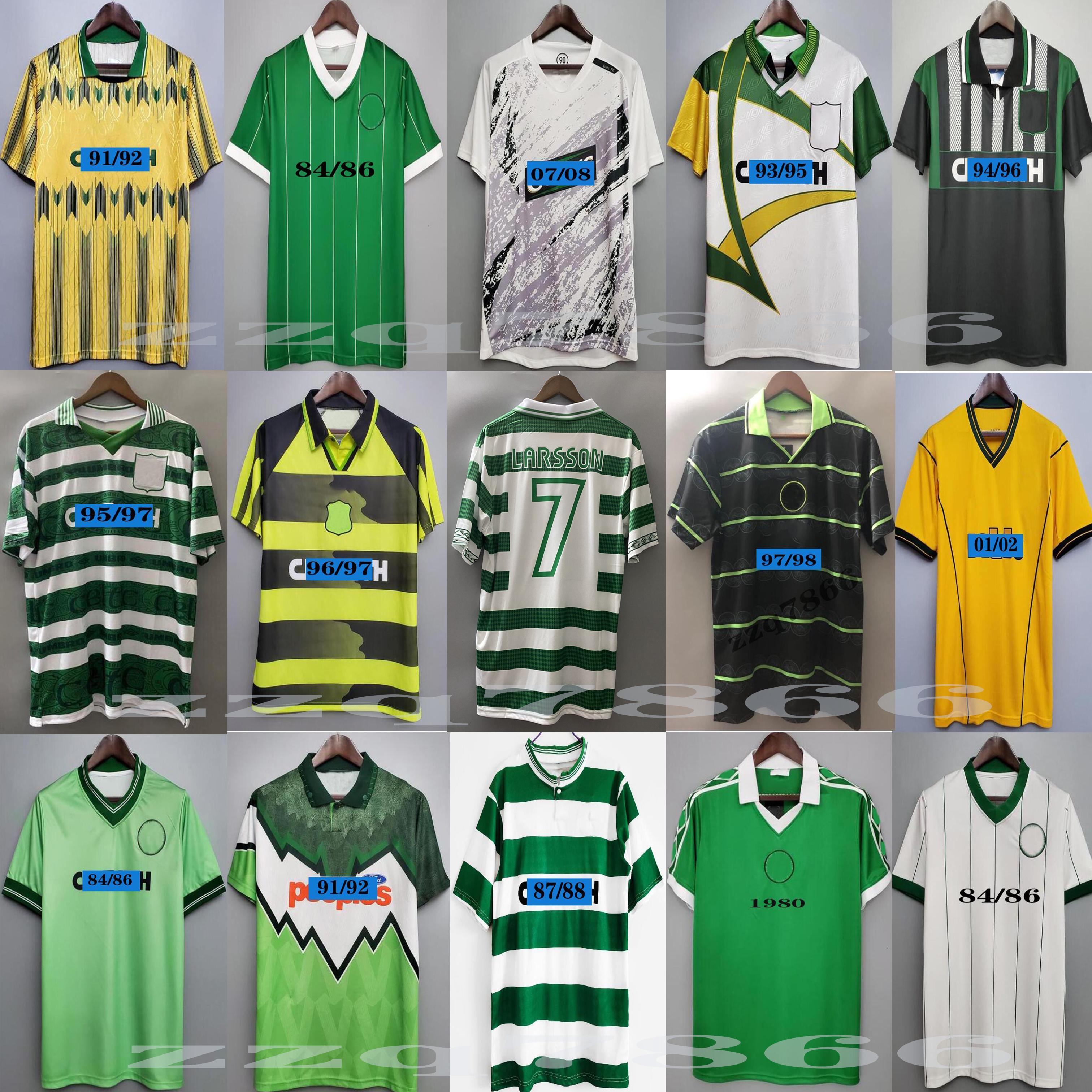 1982 84 86 Top Celtic # 7 Larsson 2000 2002 Retro Soccer Jerseys 80 85 89 01 03 07 07 07 08 91 91 92 97 97 خمر قميص كرة القدم بعيدا أخضر جيليسبيبي كاسكارينو