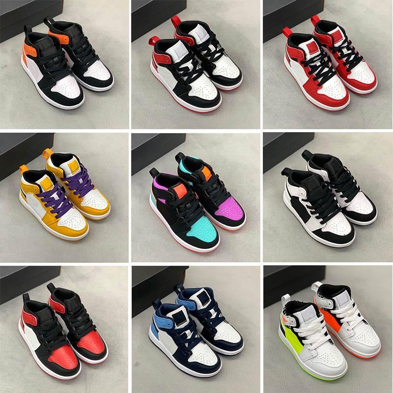 Säuglinge 1s 1 Kleinkind Kinder Basketballschuhe Kiefer Grün Spiel Royal Scotts Obsidian Chicago Bred Sneakers Multi-Color Tie-Farbstoff Größe 25-35