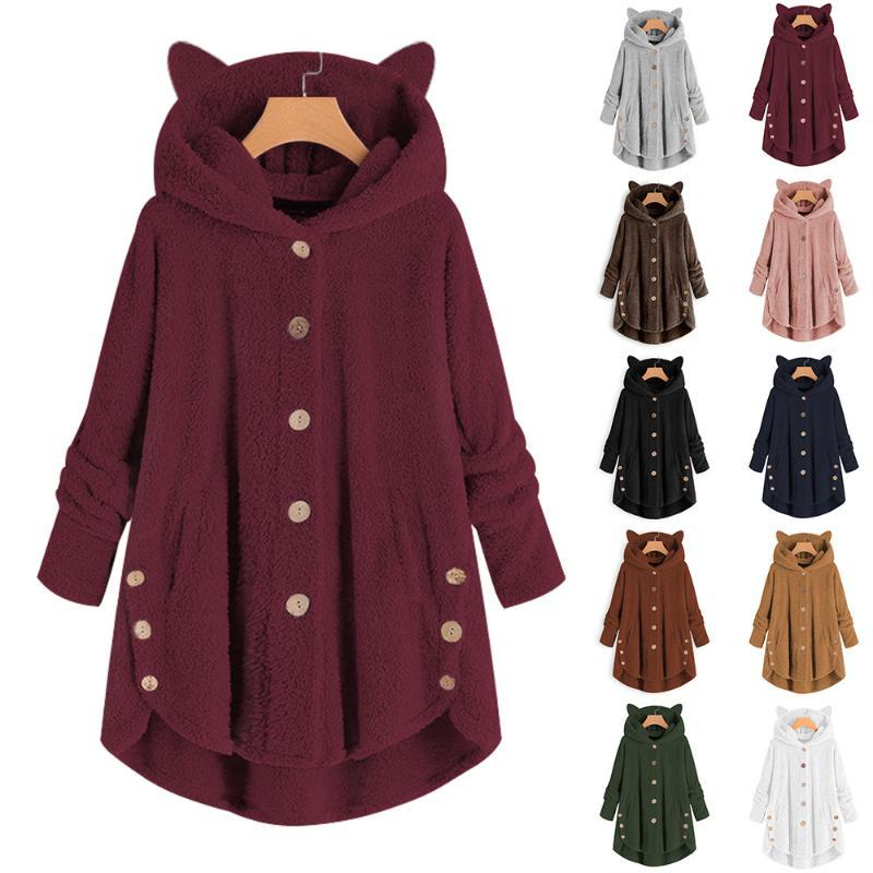 Women's Trench Coats Factory Direct Cat Ears Hooded Single Breasted Plush Mid-Length Coat Solid Color Double-Sided Warm