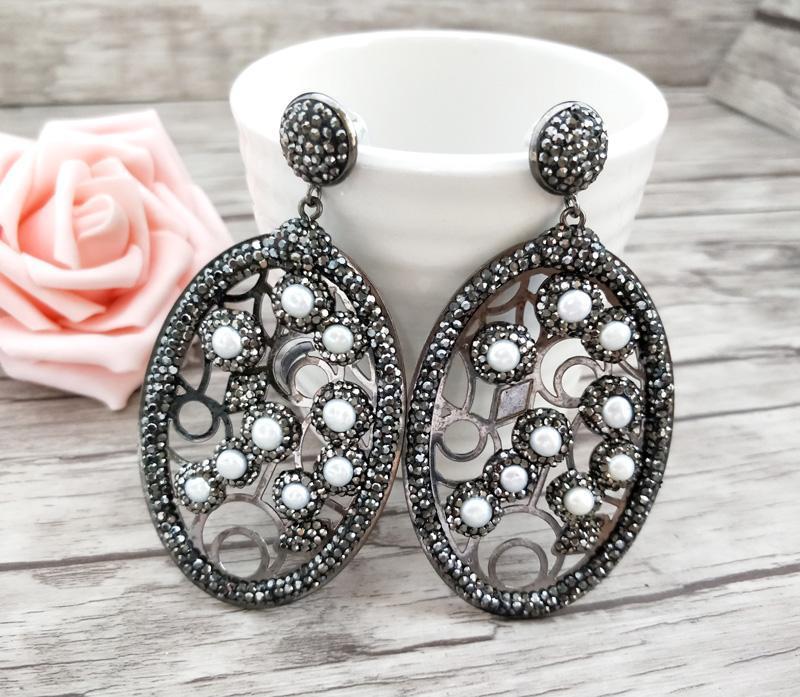 Paare Mode Wassertropfen Ohrringe Pave Black Strass Perle Charme Handgemachte Schmuck für Frauen Er669 Baumeln Kronleuchter