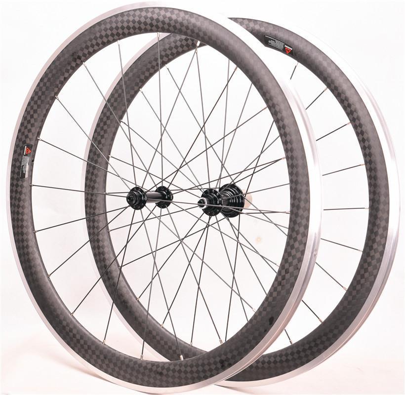 دراجة عجلات ألياف الكربون الطريق دراجة عجلة سبائك الألومنيوم سطح الفرامل 700C 38 ملليمتر 50 ملليمتر oem 12k wheelset r13 r16