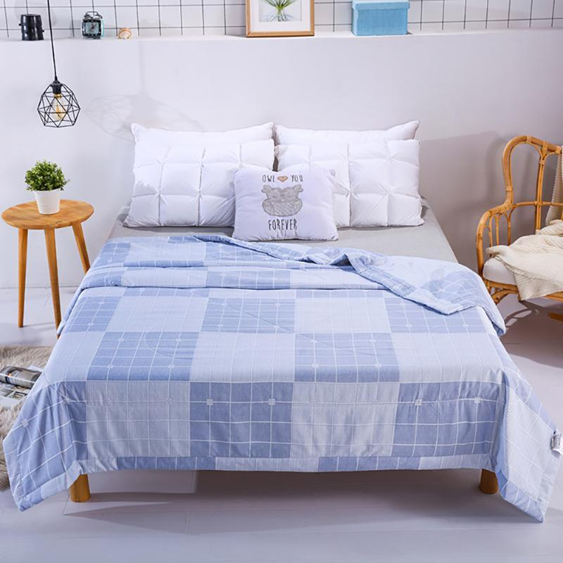 Summer Quilts Air-Conditioning Comforter Soft Breathable Blanket Thin Plaid Print Bedspread Bed Cover Home Textiles Comforters & Sets