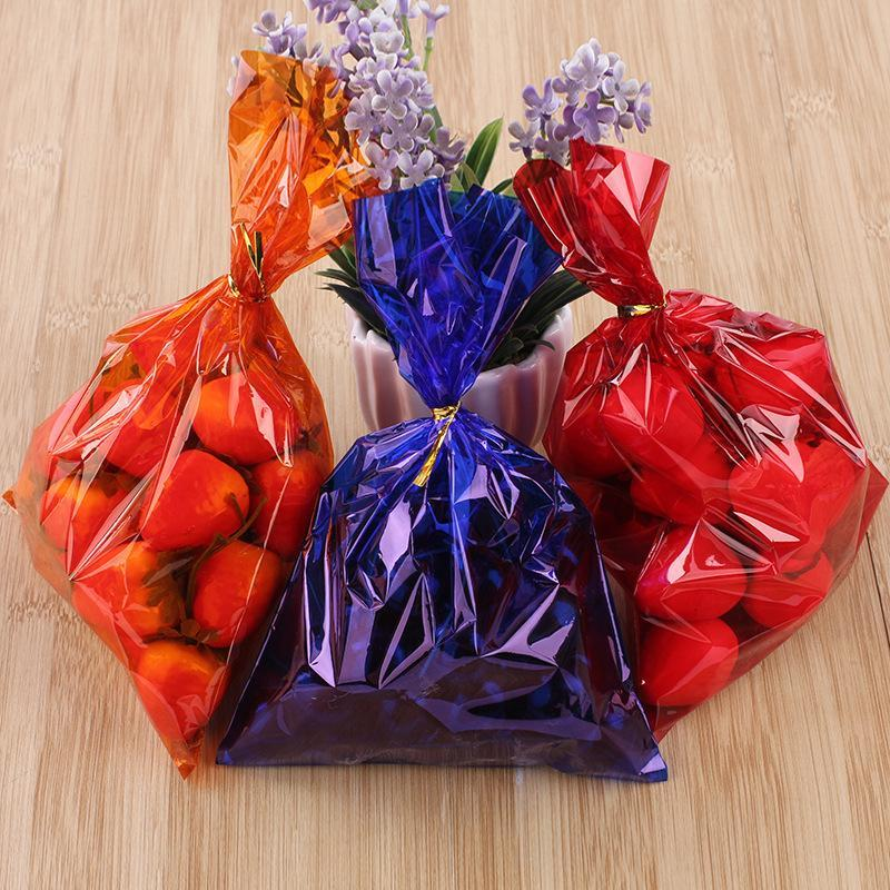 100pcs Colorful Plastic Bags For Candy Lollipop Fruit Packaging Cellophane Bag Engagement Wedding Birthday Party Gift Wrap