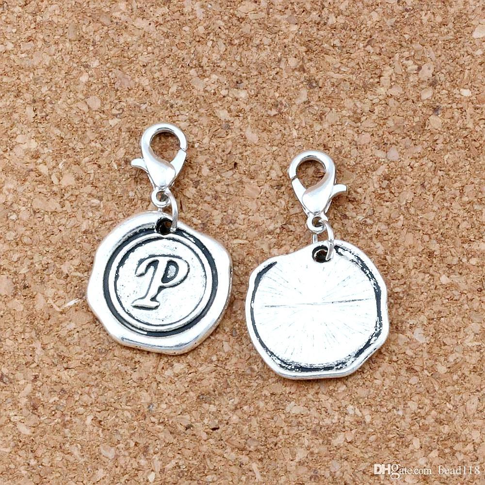 """50 pcs letra """"p"""" Alphabet Inicial Floating Lobster Clasps Beads de encanto para jóias que fazem achados de pulseira 18x32.5mm A-468B"""