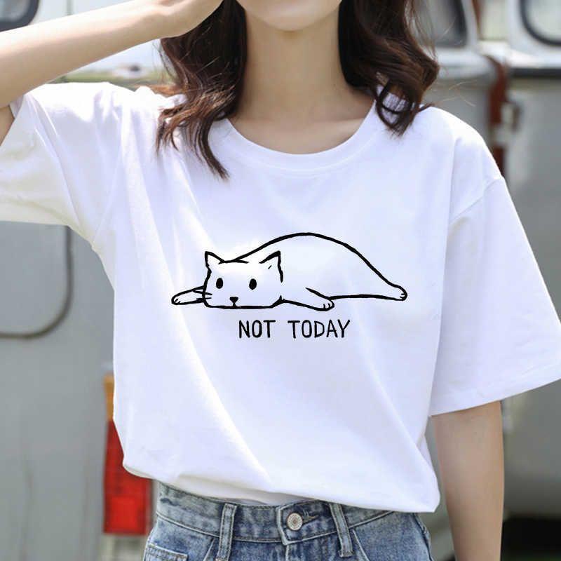Kawaii katze grafik harajuku frauen t-shirt ullzang ästhetisch rosa t-shirt 90s lustige cartoon t-shirt katzen meau top tee weiblich y0601