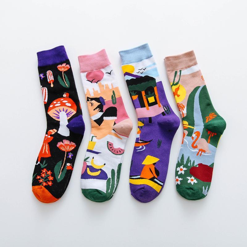 Зачаточная мода красочные печать женщин с грибной весна женщина носки хлопчатобумажные калькутины mujer meias 010202