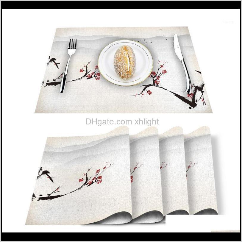 Runner Cloths Textiles & Garden Drop Delivery 2021 Red Plum Flower Ink Scenery Printed Cotton Linen Kitchen Placemat Dining Table Mat Pads Cu