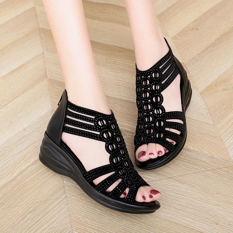 Sandals Sandália de boca peixe para mulheres, nova remessa, calçado feminino casual, estilo boêmio, com zíper, sapato o verão IY8F