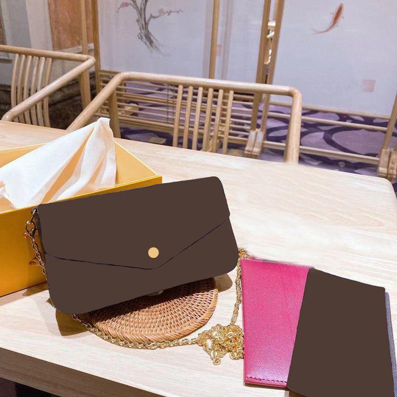 2021 Moda Tek Omuz Messenger Çanta Üç Parçalı Kahverengi Mektup Çiçek Deri Zincir Çanta Mini Kemer Kutusu Güzel İşçilik ve Güçlü Uygulanabilirlik