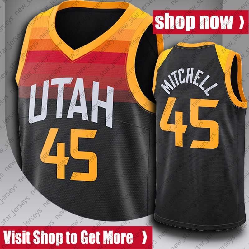 "Donovan 45 Mitchell Jersey John Karl Stockton Malone Retrocesso de Malone Basquetebol Camisas Utah ""Jazz"" Jersey"