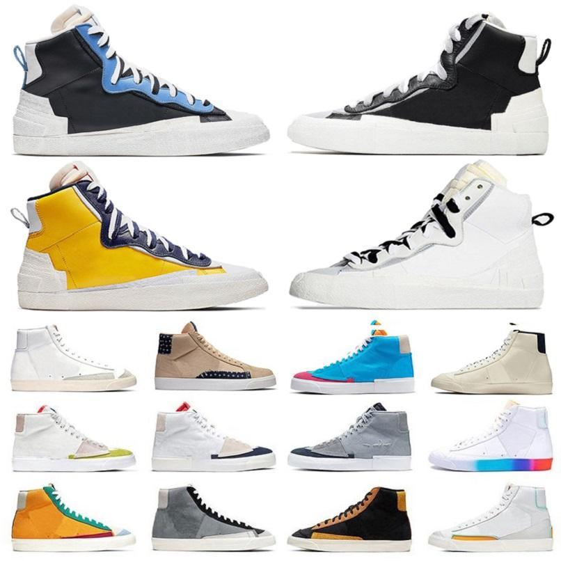 Blazer Mid 77 حذاء كاجوال رجالي UNC جامعة أزرق أبيض كول جراي أسود فارسيتي مايز هاك حزمة سمسم شراع سيتي برايد حذاء منصة للرجال والنساء أحذية رياضية 36-45