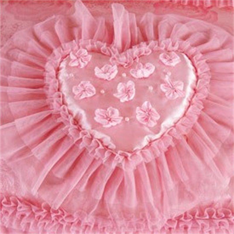 4 pcs rosa coração-em forma de luxo conjunto rei rainha balclothes lençóis lençóis de algodão princesa laço edredom conjunto 357 R2
