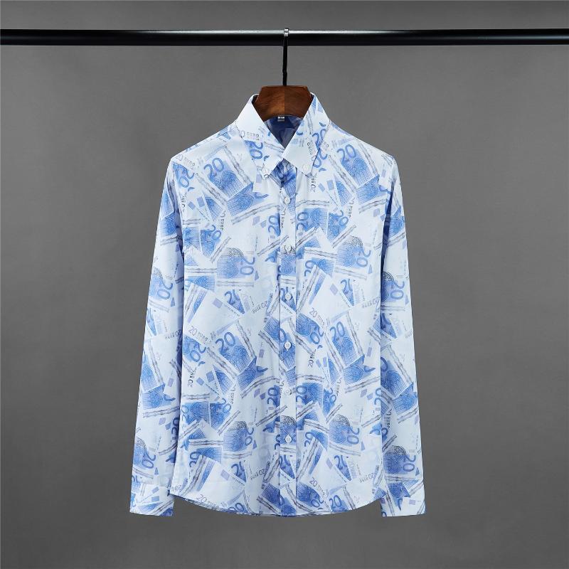 클래식 유로 디지털 인쇄 망 셔츠 럭셔리 블루 긴 슬립 드레스 크기 4XL 패션 슬림 맞는 남성 캐주얼