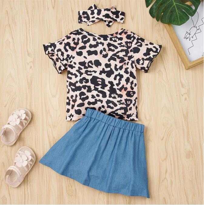 Toddler Baby Girls Summer Clothes Set Round Neck Short Sleeve Leopard T-shirt + Denim Button Skirt 6-24M