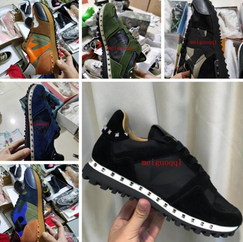 [Original Box] Luxus Designer Rock Stud Sneaker Shoe Hohe Qualität Frauen, Männer Casual Shoe's R ock Runner Trainer Party Hochzeitsschuhe 36-46