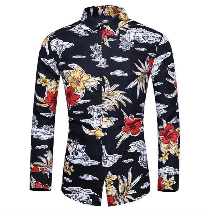 남성 실크 새틴 플로랄 프린트 셔츠 남자 슬림 피트 긴 소매 꽃 프린트 캐주얼 파티 셔츠 기본 탑 플러스 사이즈 M-7XL