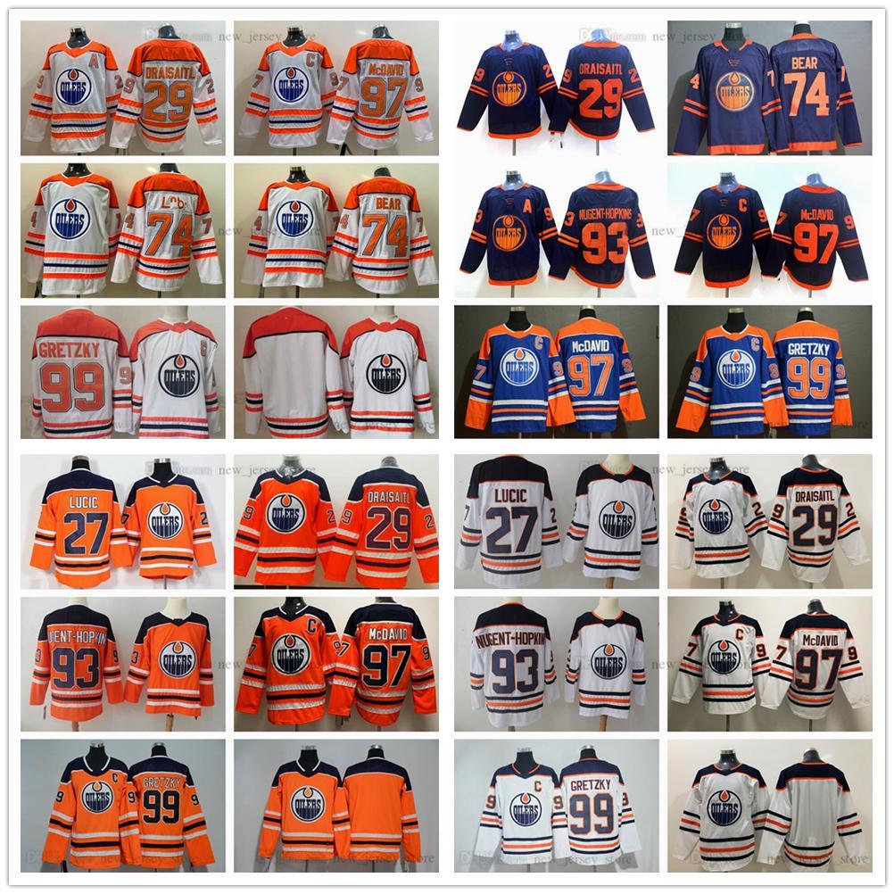 2021 Retro Retro Edmonton Oilers Hockey 74 Ethan Bear Jersey Connor 97 McDavid 29 Leon Draisait Wayne 99 Gretzky 93 Ryan Nugent-Hopkins 27 Milan Lucic Jerseys