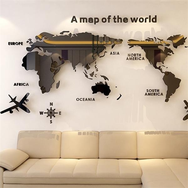 Dünya Haritası Akrilik 3D Katı Kristal Yatak Odası Duvar Oturma Odası Ile Sınıf Çıkartmaları Ofis Dekorasyon Fikirleri Y0805