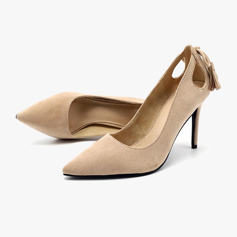 Elbise ayakkabı kadın flock yüksek topuklu pompalar bayanlar ofis sivri burun