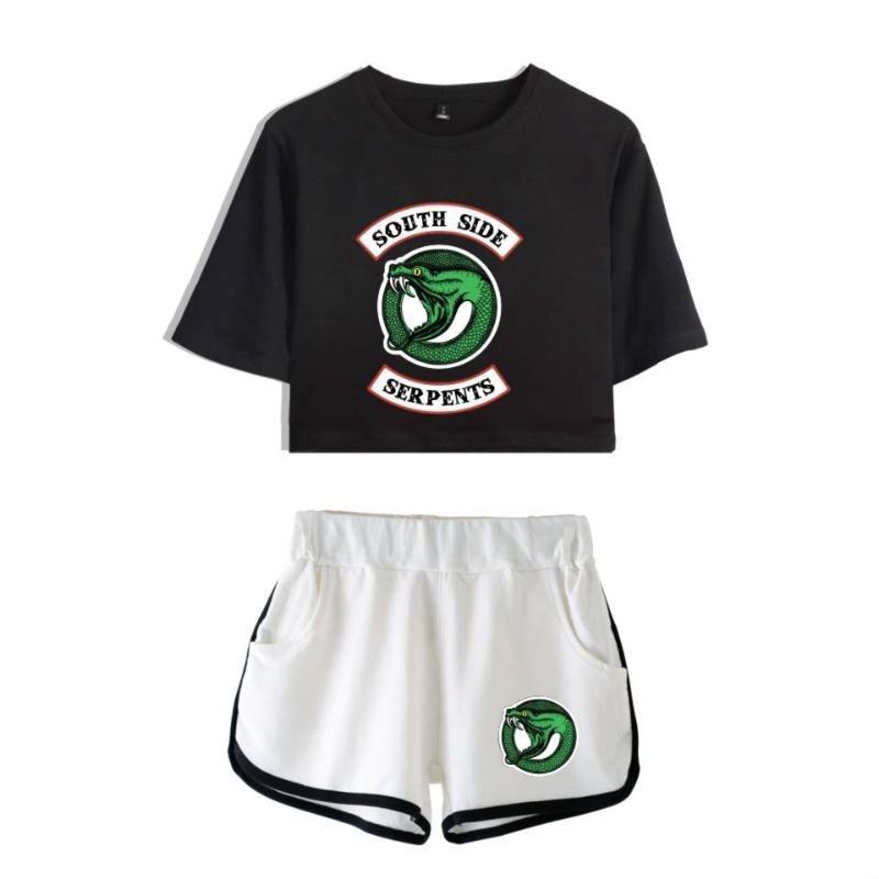 Riverdale due pezzi set estate sexy 2020 cotone stampato t shirt donna nuovo vestito pantaloncini crop riverdale fashion top + shorts