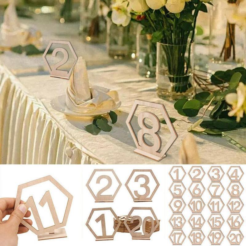 Decorazione in legno Forniture da sposa 1-20 Sedile cavo esagonale Digital Platecard Bar Cafe Decorazione Tavoli in legno Tavoli Numero piatti