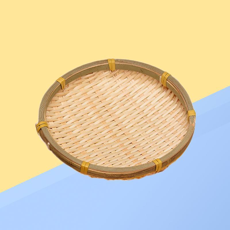 Rodada tecida cesta de bambu frutas vegetais drenando lanche biscoito de secagem de biscoito (13cm) cestas de armazenamento