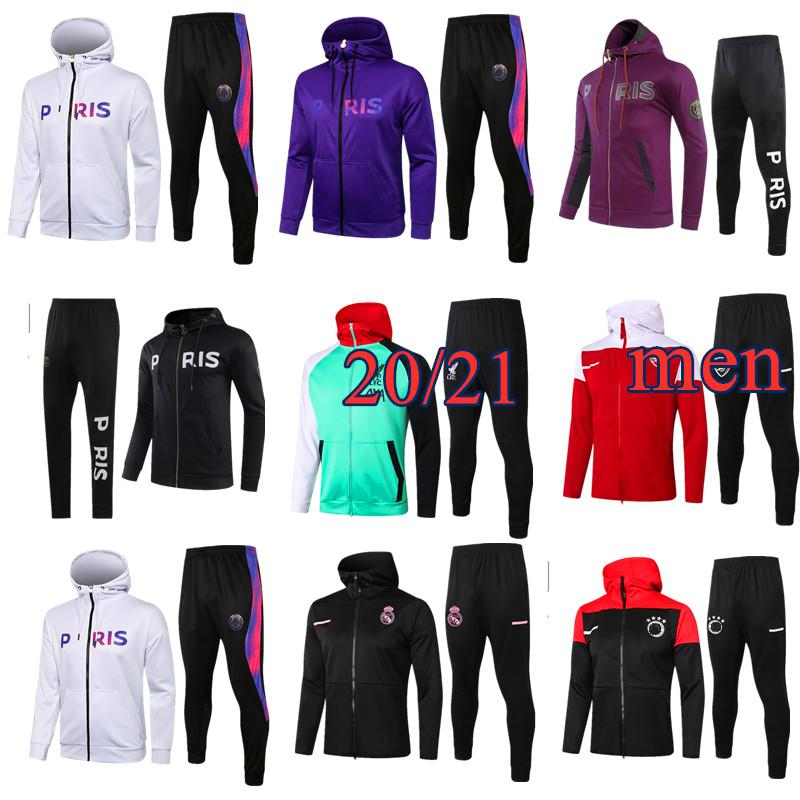 21 22 Erkek Futbol Zip Ceket Hoodie 2021 2022 Erkekler Futbol Eşofman Eğitim Survetement Ayak Chandal Jogging