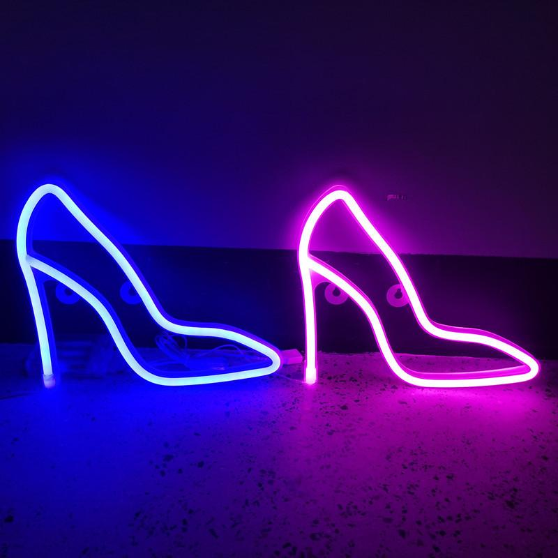 Neon Sign Lights Decoration Led High-heel shoe Design Blue Warm white Red Pink 4colors Options With Hanger