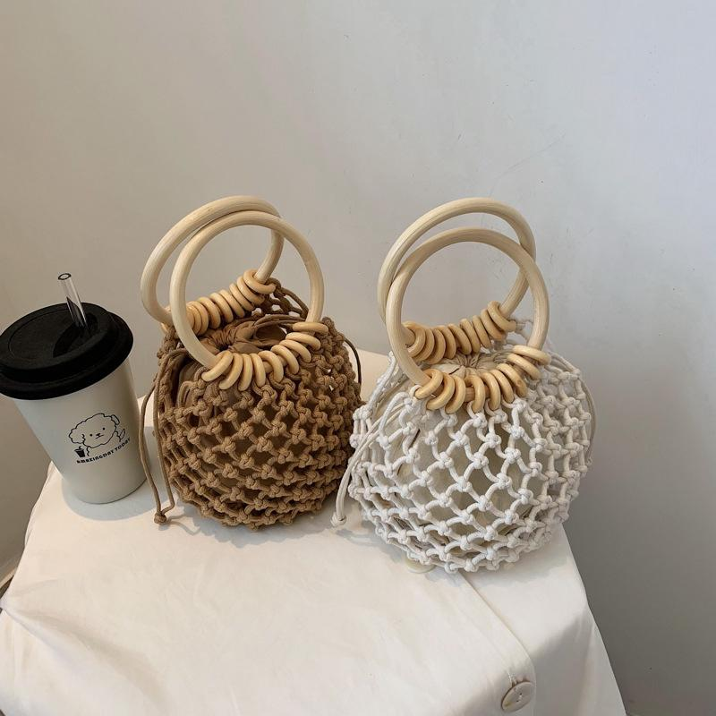 (with inner ) handmade drawstring straw xiaoqingxin one shoulder braided beach women's handbag wooden han9NBQ