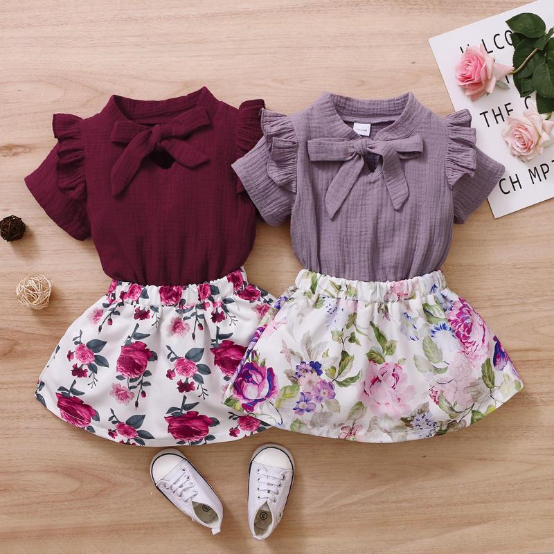 Clothing Sets Toddler Girls Clothes Summer Children's Short Sleeve Linen Bow Tops Flowers Skirt 2pcs Casual Outfits Kids