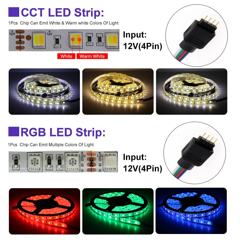 LED 스트립 RGB / RGBW / RGB + CCT / 더블 백색 LED 유연한 빛 5050 5m 300 LED + RF 원격 컨트롤러 + DC12V 전원 어댑터
