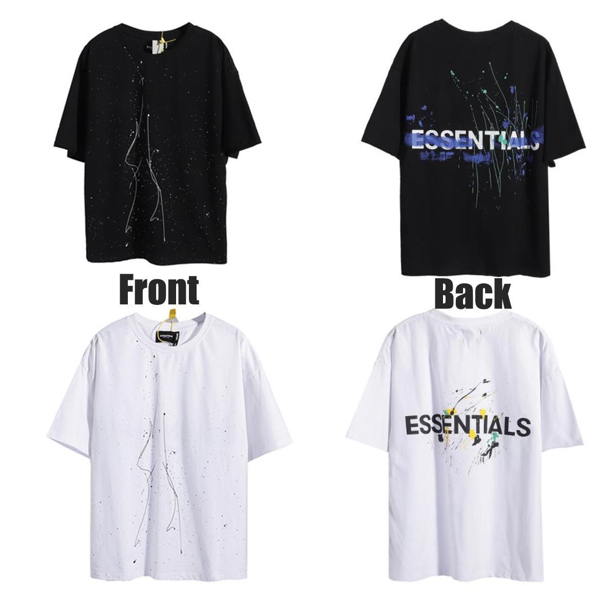 2021 Essentials T Shirt Kravat Boya Eğlence Tee Çift Taraflı Baskı Mektuplar Trendler Trendler Korku Sis Tshirt Erkek Bayan Tasarımcılar Kısa Kol