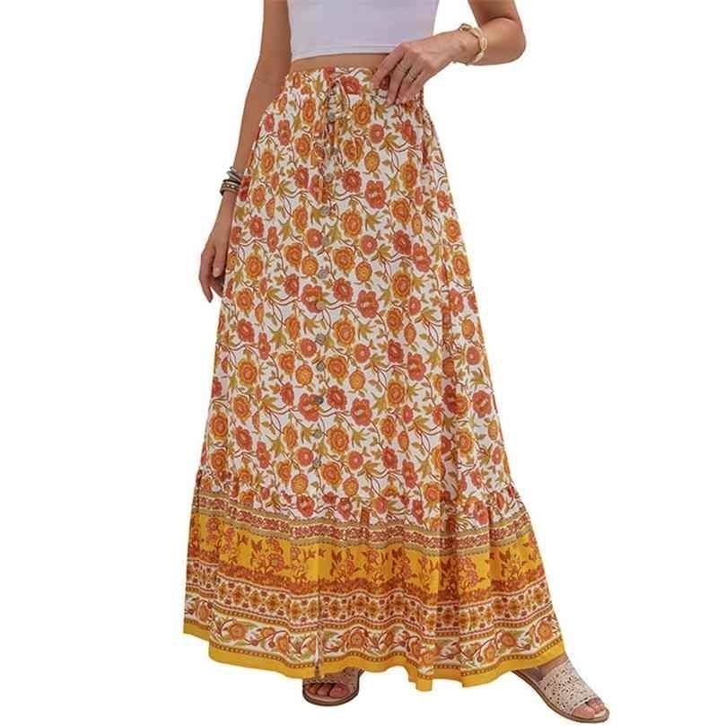 Kadın Giyim Rahat Boho Baskı Dantel Up Maxi Etekler Yaz Moda İmparatorluğu Gevşek Uzun Etek Yeşil Yarık Beach Bayan 210729