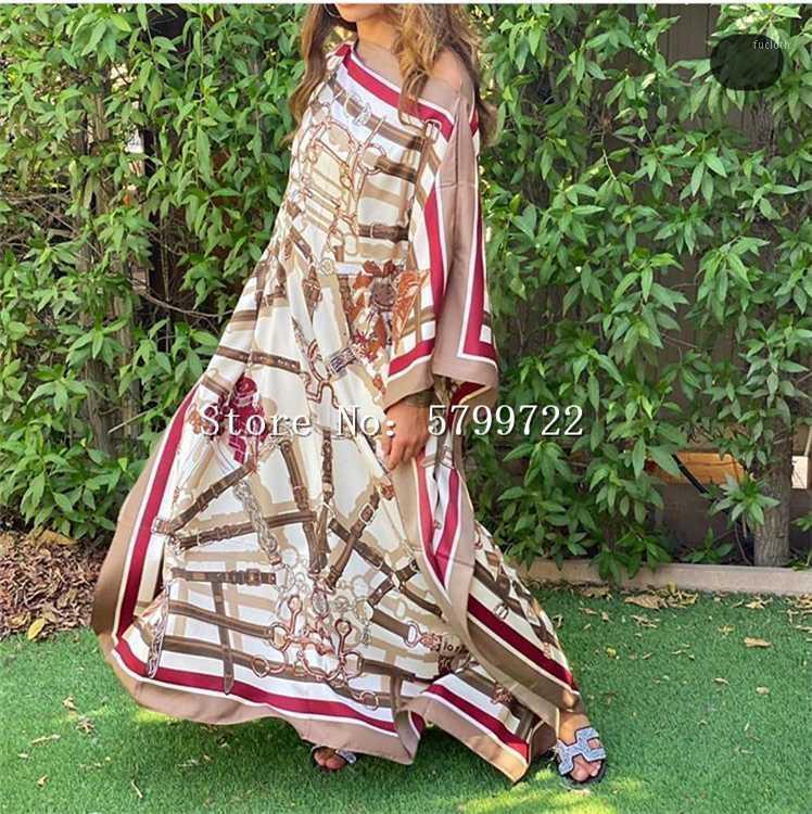 Kuwait 독점 130cm * 130cm 여성 섹시한 Boho 여름 캐주얼 쉬폰 꽃 저녁 파티 해변 긴 맥시 Dress1