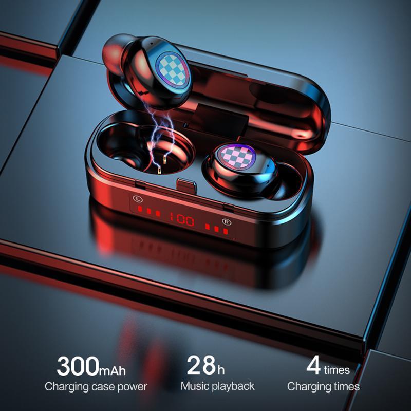 최신 TWS 블루투스 터치 컨트롤 헤드셋 무선 이어폰 헤드폰 방수 6D 스테레오 스포츠 음악 300mAh 배터리 28 시간 청취 시간 경화 소음 감소