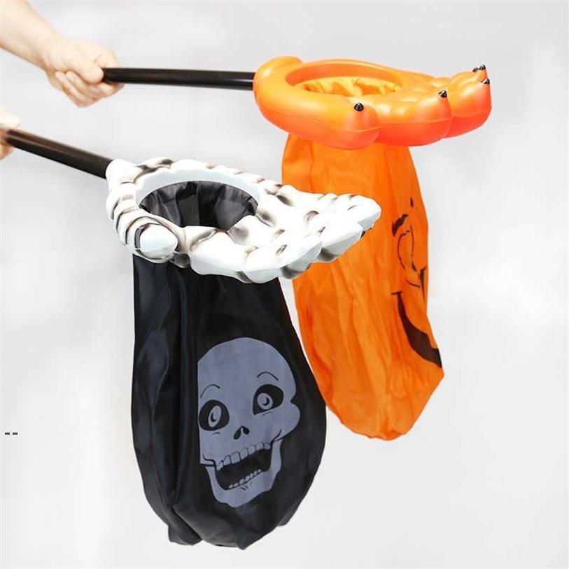 Halloween Scheletro Mano Candy Bag Grande Trick Trucco Treat Candy Sacco regalo Sacchetti regalo animato Spaventoso Pumbull Pumpkin Bottino Scoop Borsa Hallowmas OWB9278