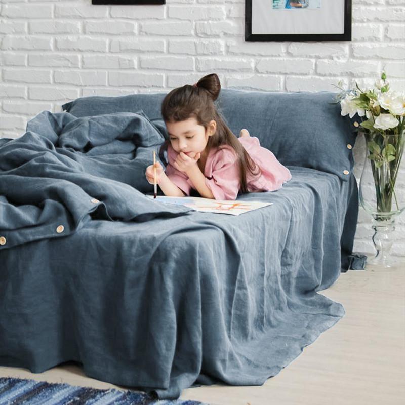 Bettwäsche-Sets 3 stücke gewaschene Frankreich-Bettwäsche Euro King-Size-Set-Bettbezug 240x220 Linnen-Quilt 200x200 140x200 Doppelbett Bettwäsche