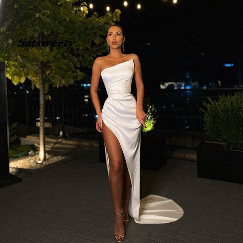 2021 Sexy White Prom Dresses with High Split Satin Evening Gowns for Party Formal Dress